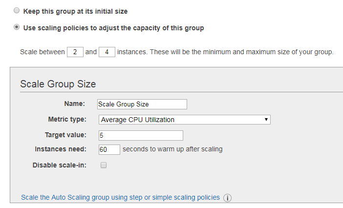 Scaling Policy settings within Amazon's Auto Scaling Groups service